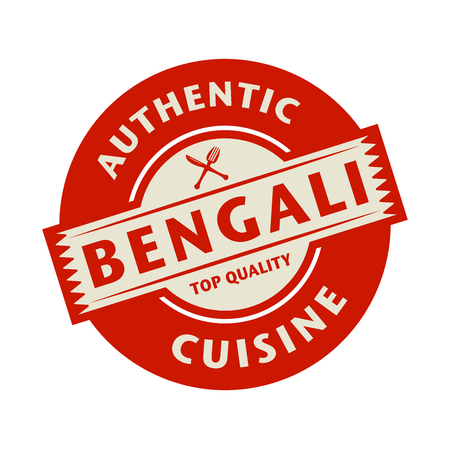 bengali: Abstract stamp or label with the text Authentic Bengali Cuisine written inside, vector illustration