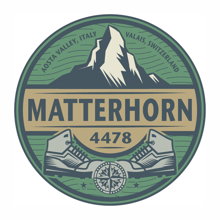 matterhorn: Stamp or emblem with text Matterhorn, Italy and Switzerland, vector illustration Illustration