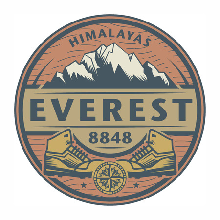 himalayas: Stamp or emblem with text Everest, Himalayas, vector illustration Illustration