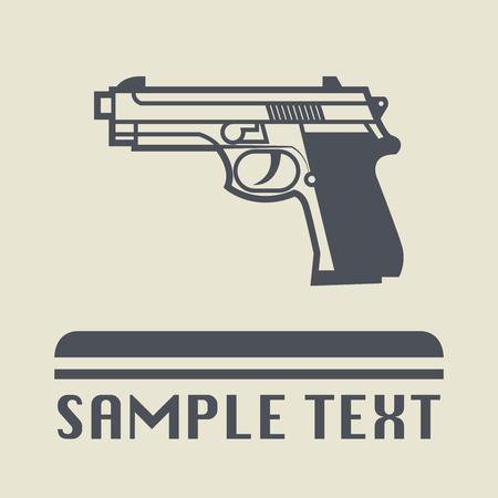automatic pistol: Pistol icon or sign, vector illustration Illustration