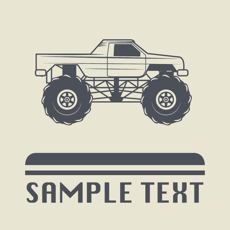 camioneta pick up: icono de camión de carrera o signo, ilustración vectorial