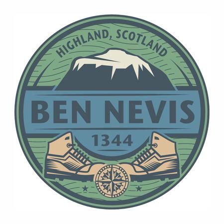 Stamp or emblem with text Ben Nevis, Scotland, vector illustration