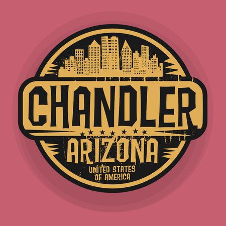 chandler: Stamp or label with name of Chandler, Arizona, vector illustration