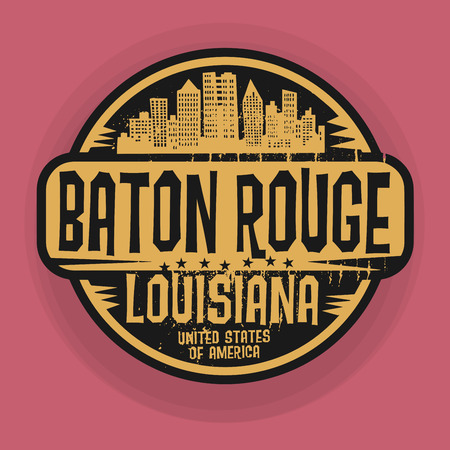 baton rouge: Stamp or label with name of Baton Rouge, Louisiana, vector illustration