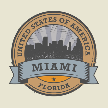 miami florida: Grunge rubber stamp or label with name of Miami, Florida, vector illustration