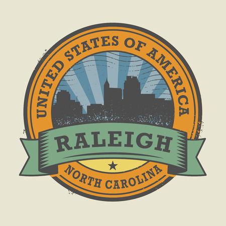 carolina: Grunge rubber stamp or label with name of Raleigh, North Carolina, vector illustration