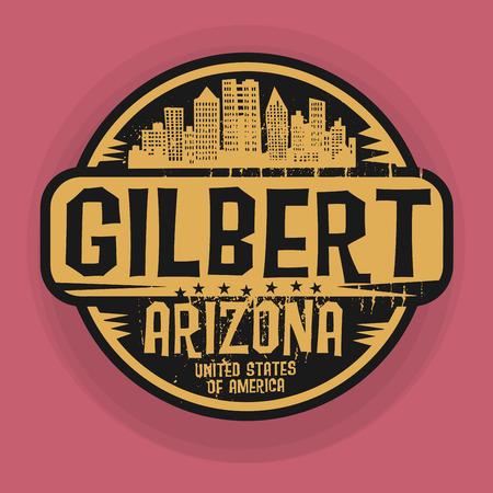 gilbert: Stamp or label with name of Gilbert, Arizona, vector illustration