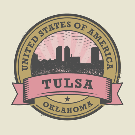 tulsa: Grunge rubber stamp or label with name of Tulsa, Oklahoma, vector illustration