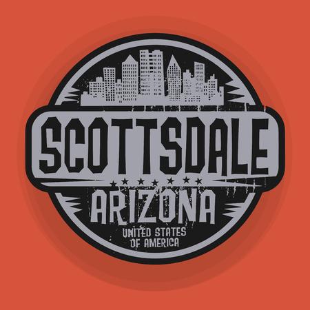 scottsdale: Stamp or label with name of Scottsdale, Arizona, vector illustration Illustration