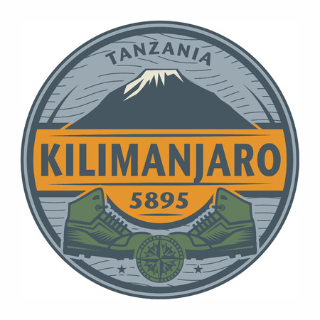 Stamp or emblem with text Kilimanjaro, Tanzania, vector illustration