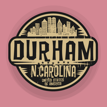 durham: Stamp or label with name of Durham, North Carolina, vector illustration