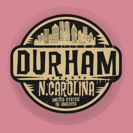 durham: Stamp or label with name of Durham, North Carolina, vector illustration