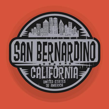 bernardino: Stamp or label with name of San Bernardino, California, vector illustration Illustration