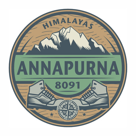 Stamp or emblem with text Annapurna, Himalayas, vector illustration