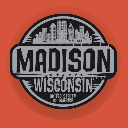 madison: Stamp or label with name of Madison, Wisconsin, vector illustration Illustration