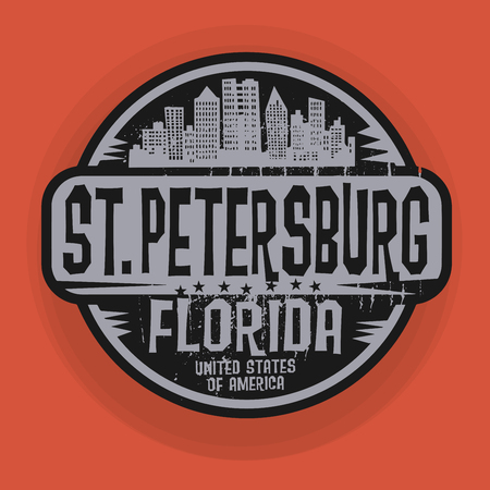 florida state: Stamp or label with name of St. Petersburg, Florida, vector illustration