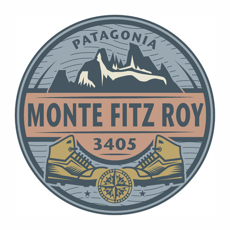 Stamp or emblem with text Monte Fitz Roy, Patagonia, vector illustration 일러스트