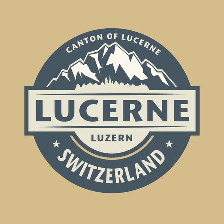 Abstract stamp or emblem with the name of town Lucerne in Switzerland.