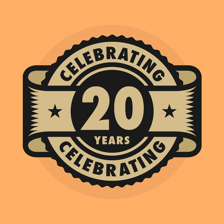 an anniversary: Stamp or label with the text Celebrating 20 years anniversary. Illustration