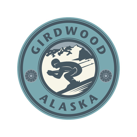 anchorage: Abstract stamp or emblem with the name of Gird-wood, Anchorage, in Alaska, illustration