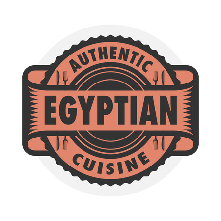 restaurant food: Abstract stamp or emblem with the text Authentic Egyptian Cuisine written inside Illustration