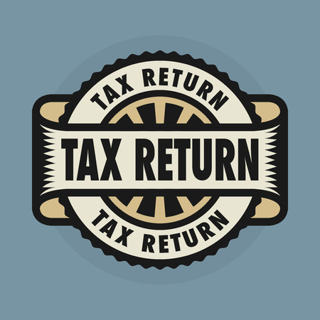 tax return: Stamp or emblem with text Tax Return, illustration