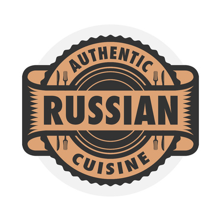 russian cuisine: Abstract stamp or label with the text Authentic Russian Cuisine written inside, illustration