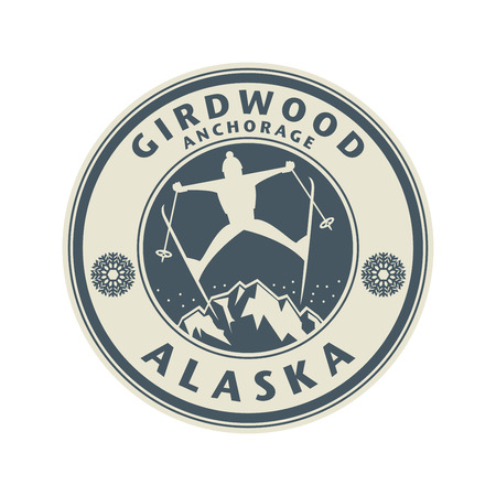 anchorage: Abstract stamp or emblem with the name of Girdwood, Anchorage, in Alaska, illustration