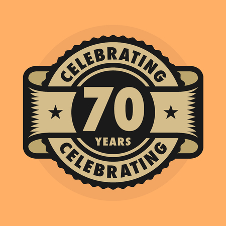 70 years: Stamp or label with the text Celebrating 70 years anniversary, illustration