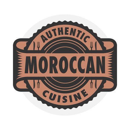 moroccan cuisine: Abstract stamp or label with the text Authentic Moroccan Cuisine written inside, illustration