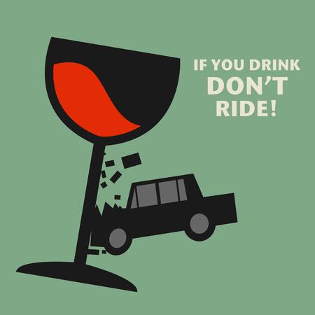 responsibly: Dont drive drunk, illustration