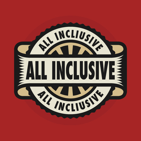 inclusive: Stamp or emblem with text All inclusive, illustration Illustration