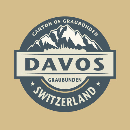 european alps: Abstract stamp with the name of town Davos in Switzerland, illustration