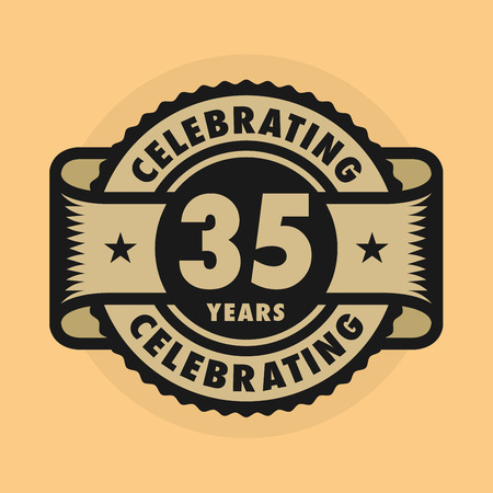 company party: Stamp or label with the text Celebrating 35 years anniversary, illustration Illustration