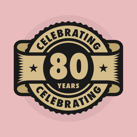 80 years: Stamp or label with the text Celebrating 80 years anniversary, vector illustration