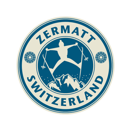 european alps: Abstract stamp or emblem with the name of town Zermatt in Switzerland, illustration Illustration