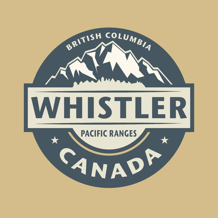 canada stamp: Abstract stamp with the name of town Whistler in Canada, illustration