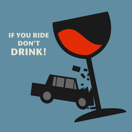 cartoon bottle: Dont drive drunk, illustration