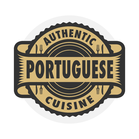 Abstract stamp or emblem with the text Authentic Portuguese Cuisine written inside, illustration