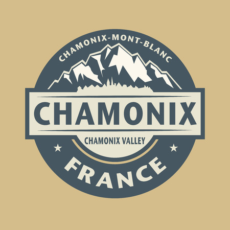 Abstract stamp or emblem with the name of town Chamonix in France, illustration