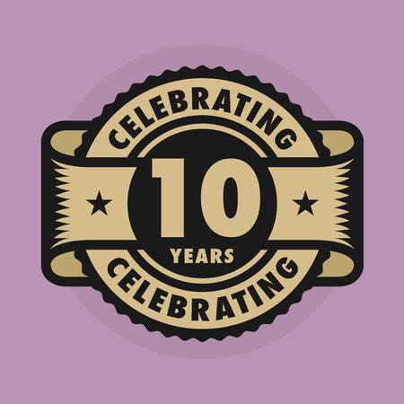 celebração: Selo ou etiqueta com o texto Comemorando 10 anos de aniversário, ilustração Ilustração