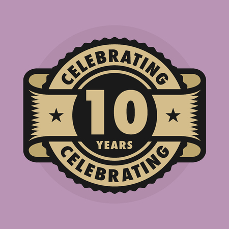 happy anniversary: Stamp or label with the text Celebrating 10 years anniversary, illustration Illustration