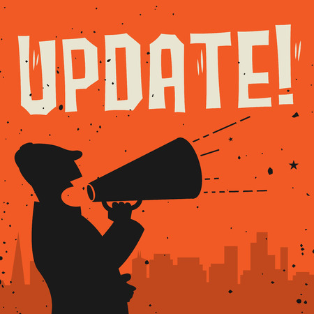 renewed: Megaphone Man, business concept with text Update, vector illustration