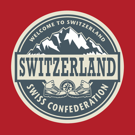 european alps: Abstract stamp or emblem with the text Switzerland, vector illustration Illustration