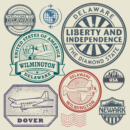 dover: Label or stamp set with names of Delaware cities, vector illustration Illustration