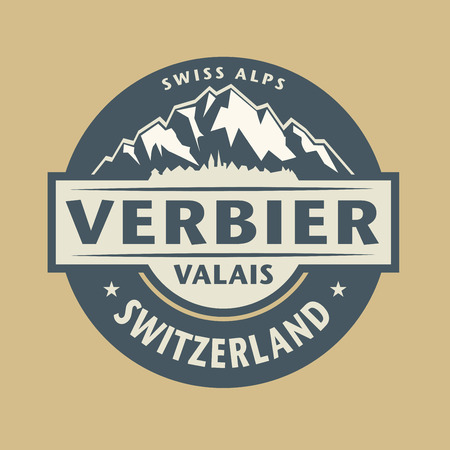 swiss insignia: Abstract stamp with the name of town Verbier in Switzerland, vector illustration