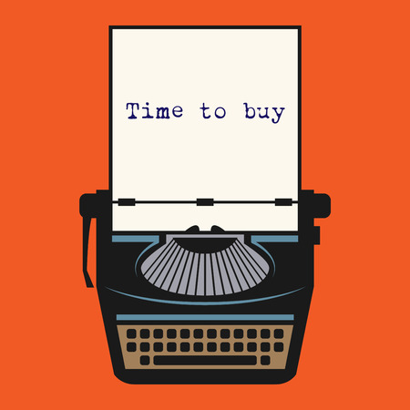 typer: Typewriter with text Time to buy, vector illustration Illustration