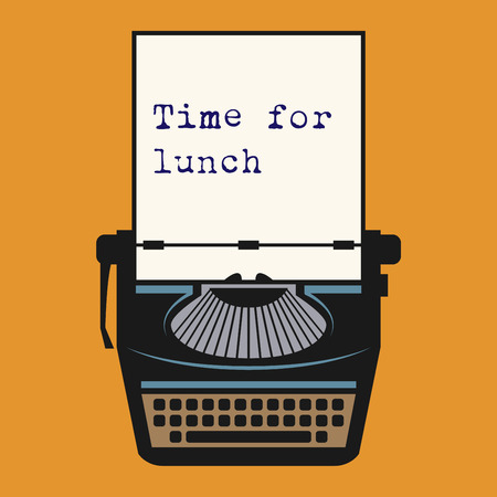 lunch: Typewriter with text Time for lunch, vector illustration