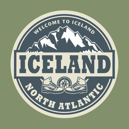atlantic: Abstract stamp or emblem with the text Iceland, North Atlantic, vector illustration
