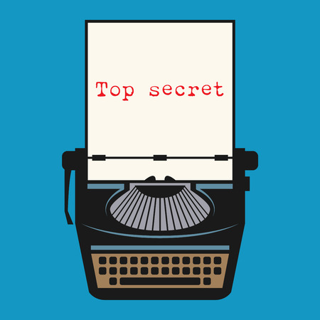typer: Typewriter with text Top secret, vector illustration